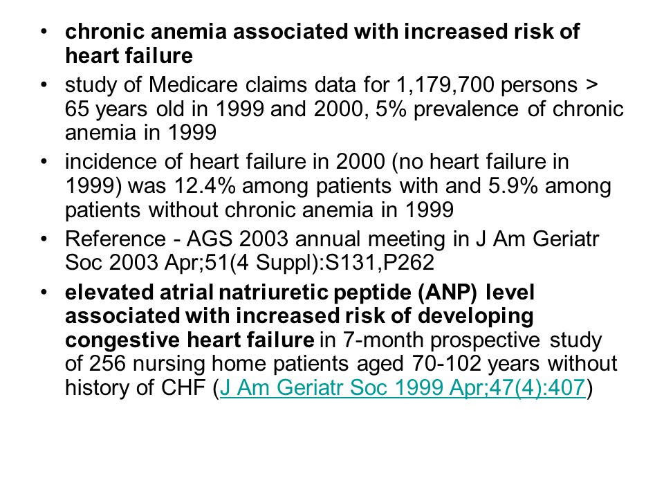 chronic anemia associated with increased risk of heart failure