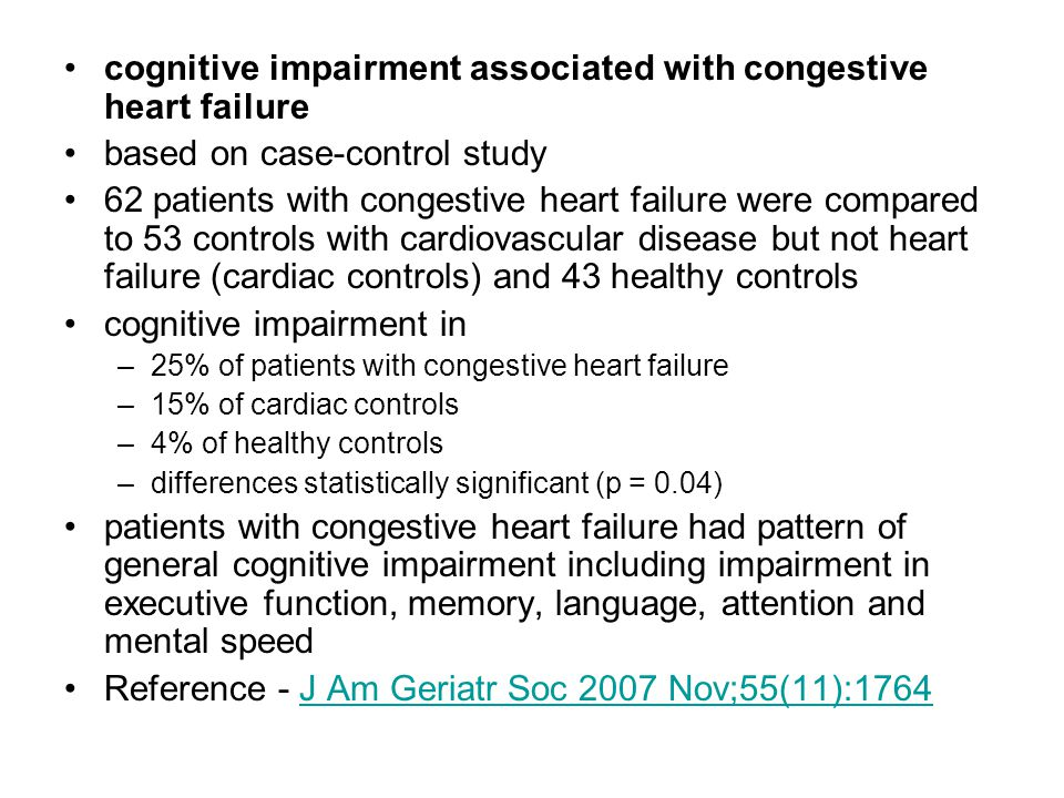 cognitive impairment associated with congestive heart failure