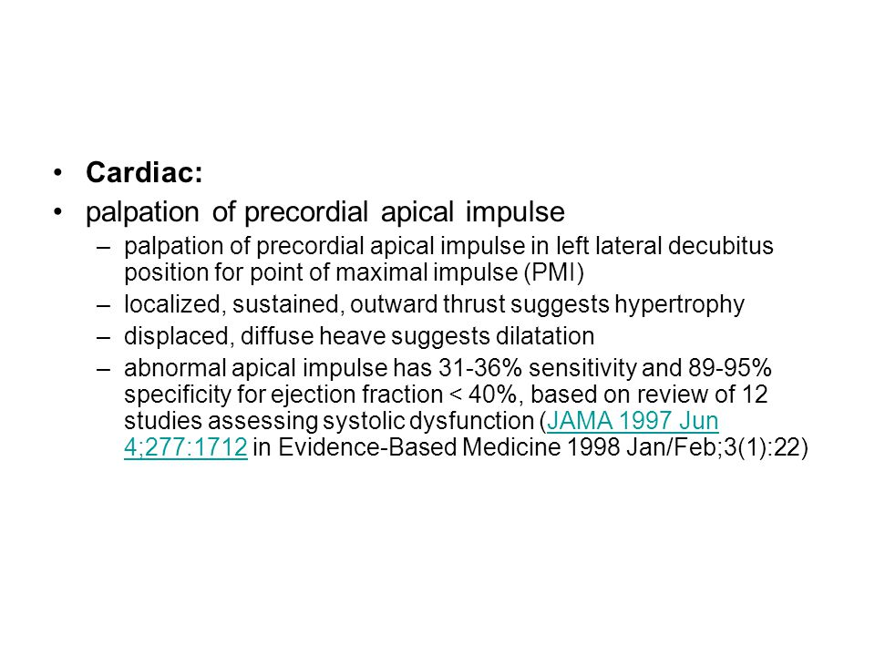 palpation of precordial apical impulse