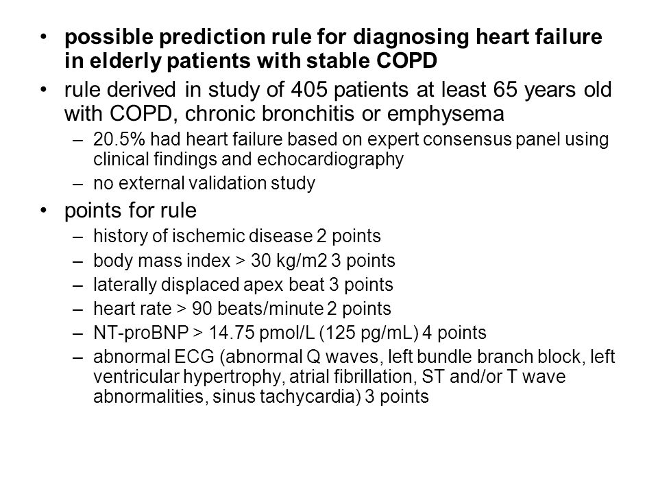 possible prediction rule for diagnosing heart failure in elderly patients with stable COPD