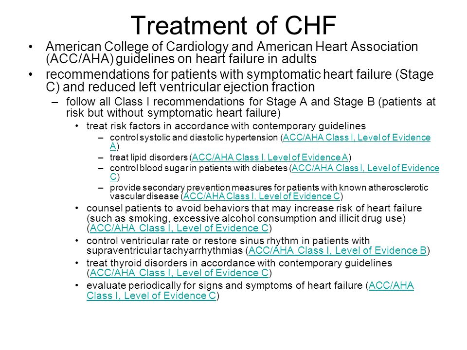 Treatment of CHF American College of Cardiology and American Heart Association (ACC/AHA) guidelines on heart failure in adults.