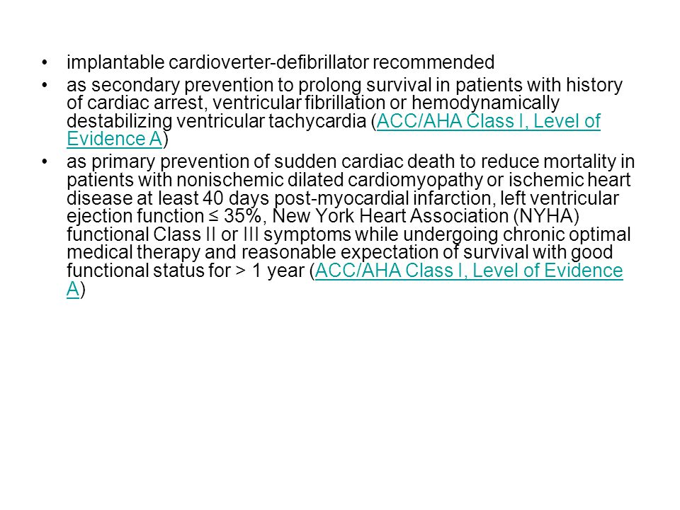 implantable cardioverter-defibrillator recommended