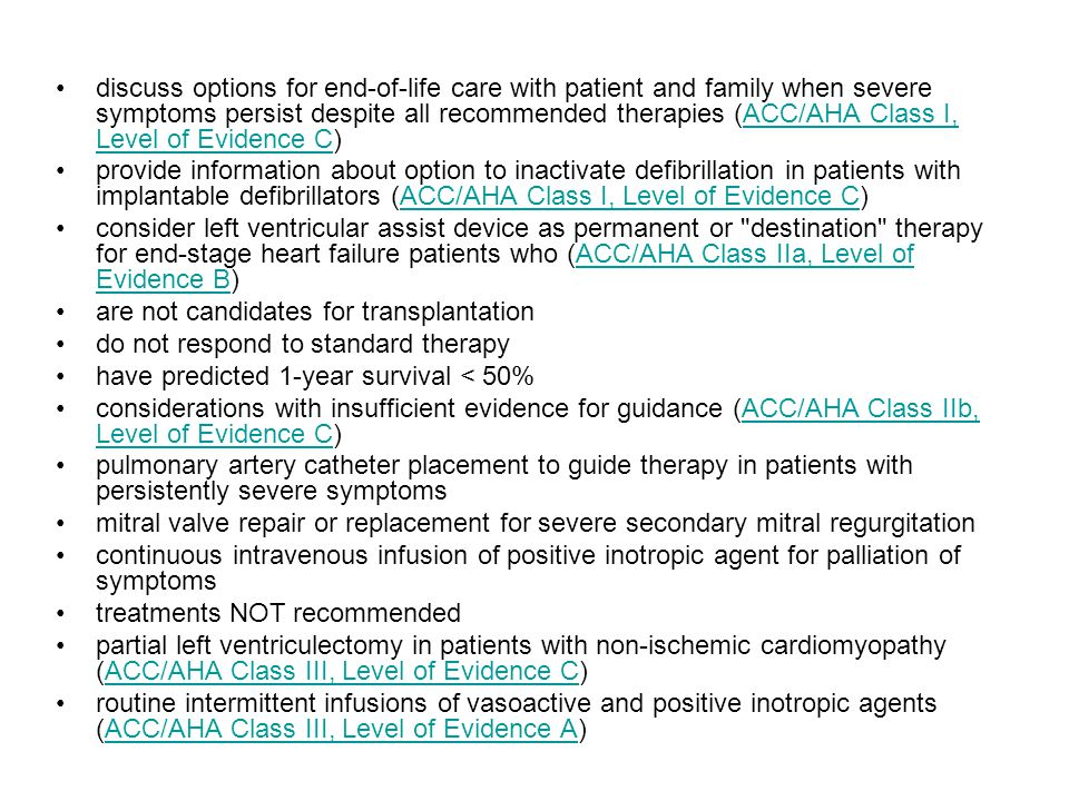 discuss options for end-of-life care with patient and family when severe symptoms persist despite all recommended therapies (ACC/AHA Class I, Level of Evidence C)
