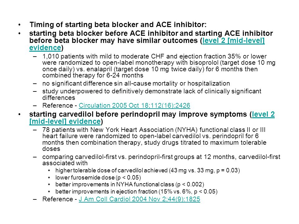 Timing of starting beta blocker and ACE inhibitor: