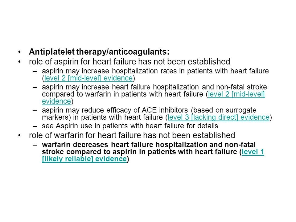 Antiplatelet therapy/anticoagulants: