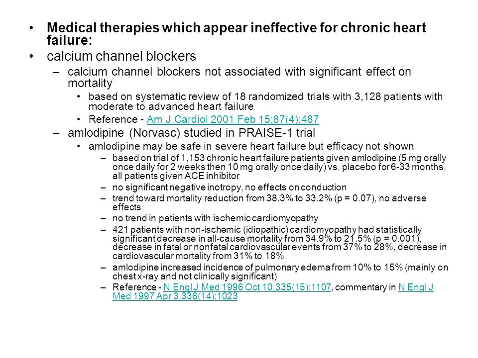Medical therapies which appear ineffective for chronic heart failure: