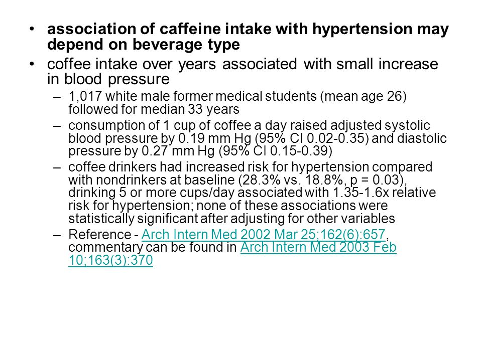 association of caffeine intake with hypertension may depend on beverage type