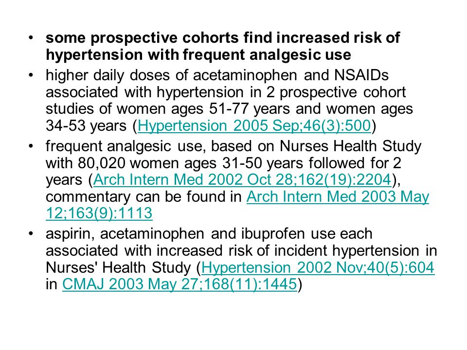 some prospective cohorts find increased risk of hypertension with frequent analgesic use