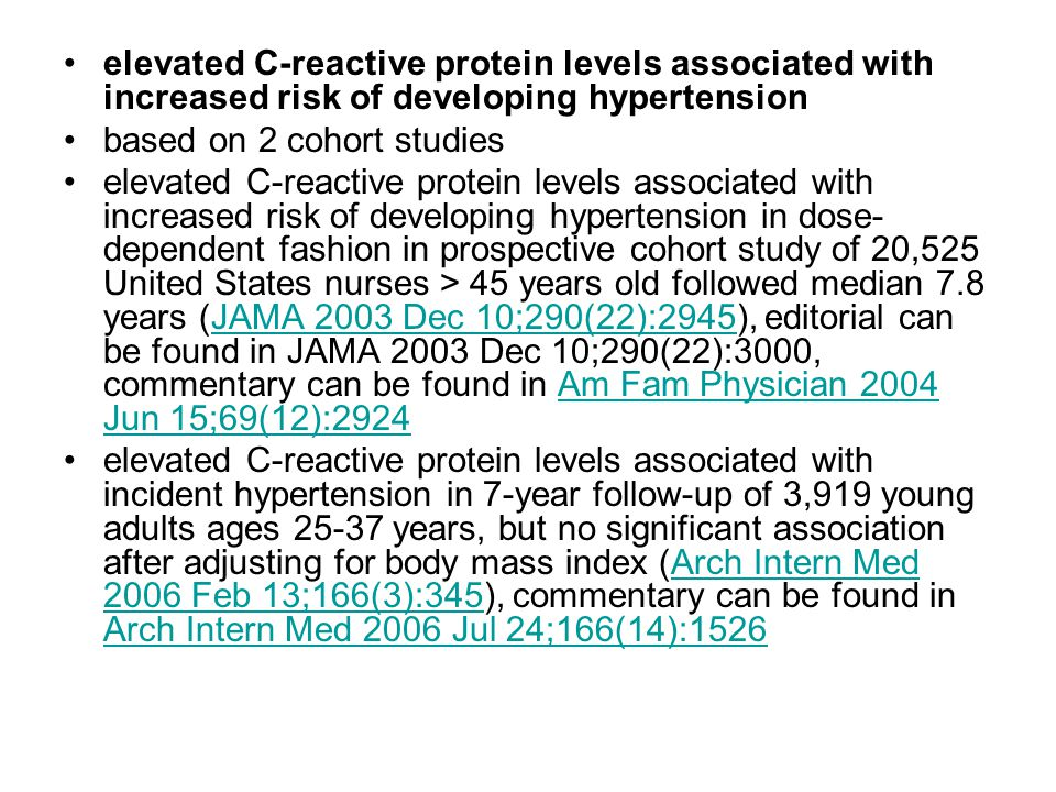 elevated C-reactive protein levels associated with increased risk of developing hypertension