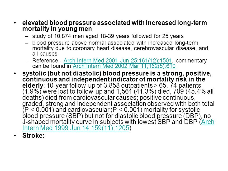 elevated blood pressure associated with increased long-term mortality in young men