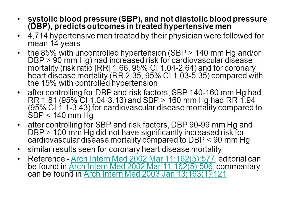 systolic blood pressure (SBP), and not diastolic blood pressure (DBP), predicts outcomes in treated hypertensive men