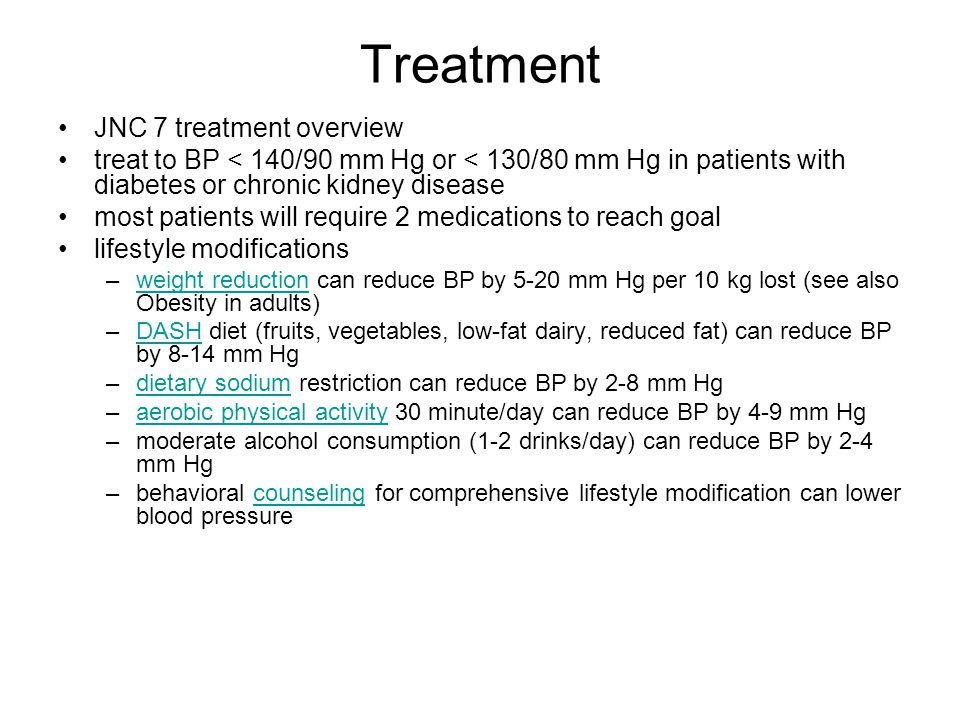 Treatment JNC 7 treatment overview