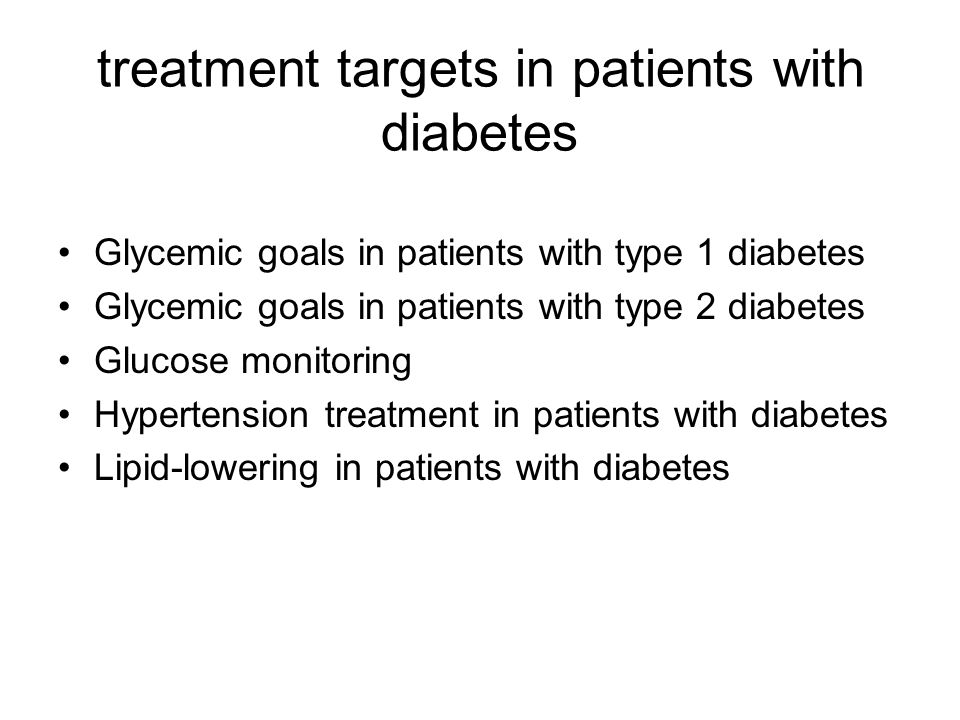 treatment targets in patients with diabetes