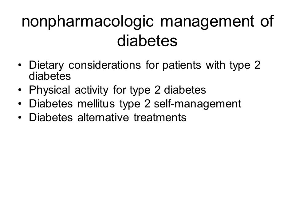 nonpharmacologic management of diabetes