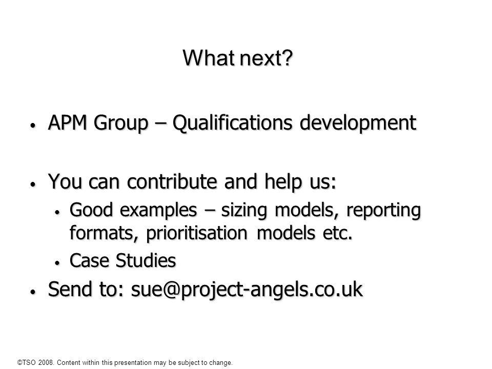 What next APM Group – Qualifications development