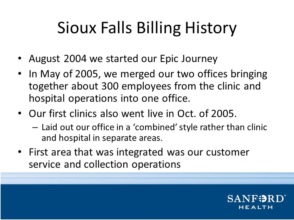 Sioux Falls Billing History