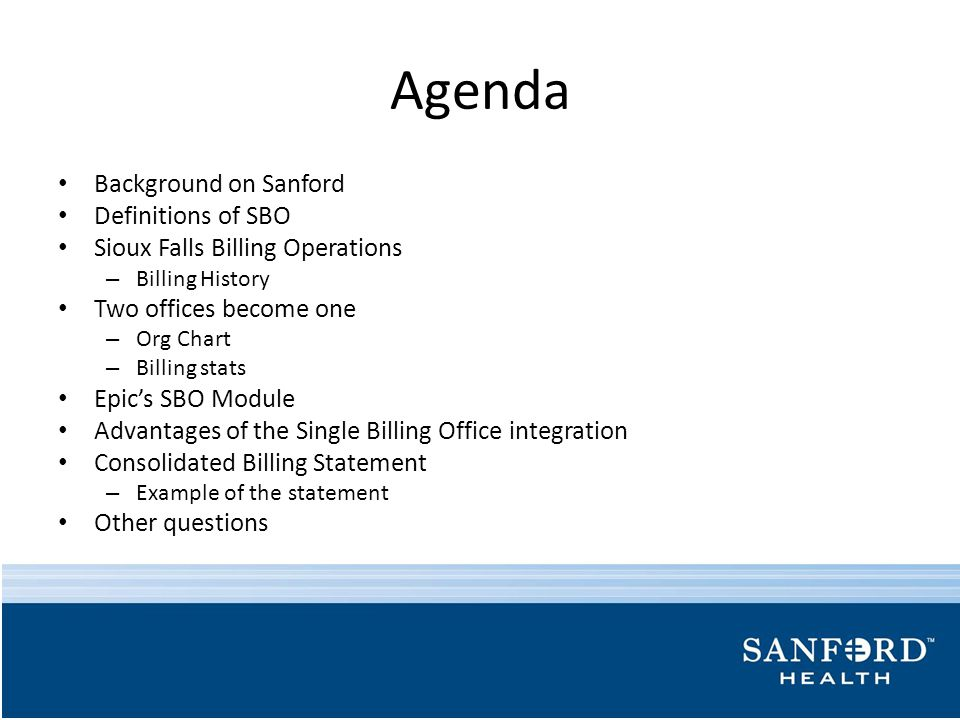 Agenda Background on Sanford Definitions of SBO