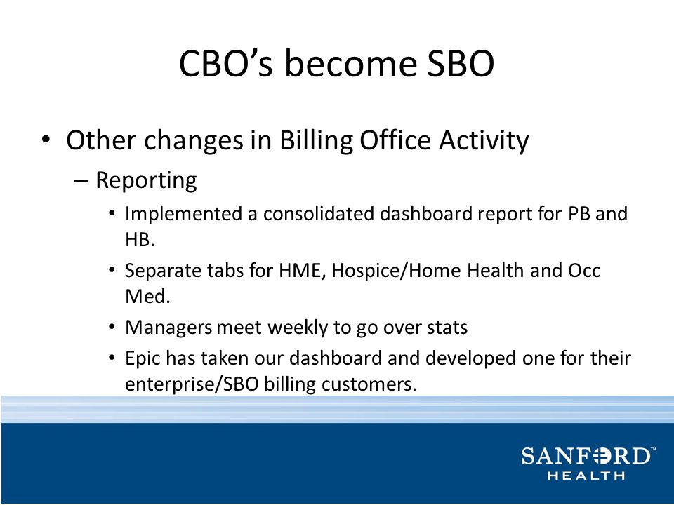 CBO's become SBO Other changes in Billing Office Activity Reporting