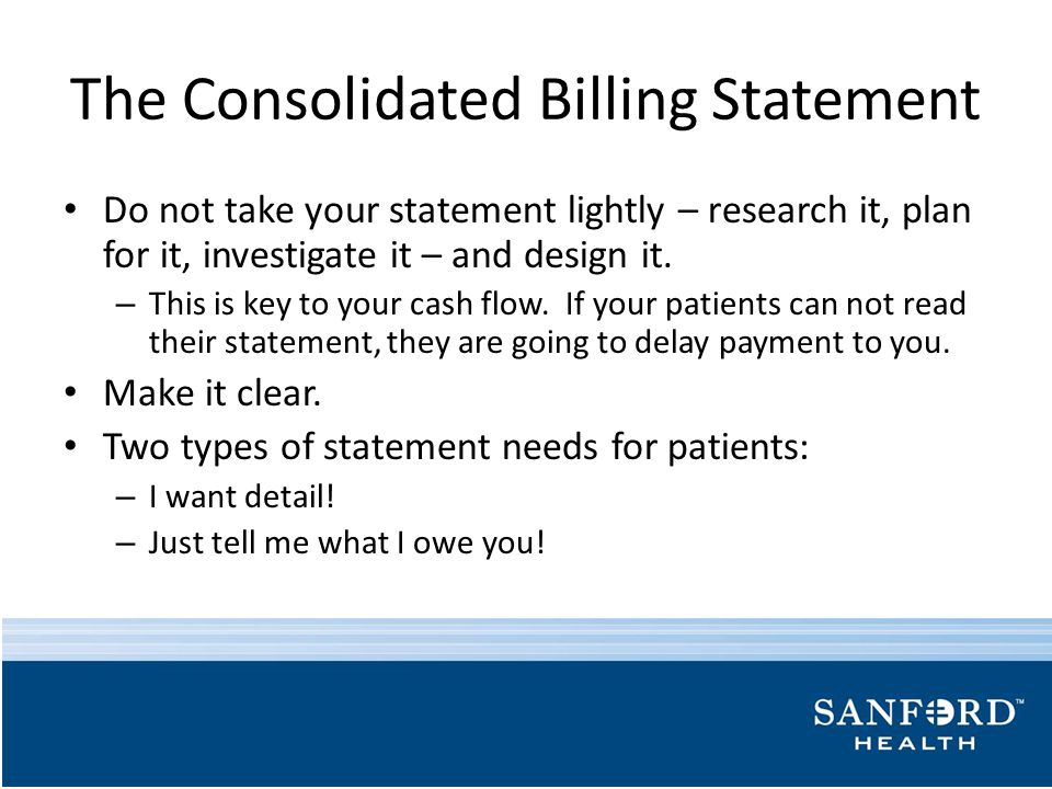 The Consolidated Billing Statement