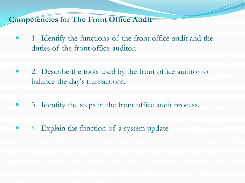 Competencies for The Front Office Audit