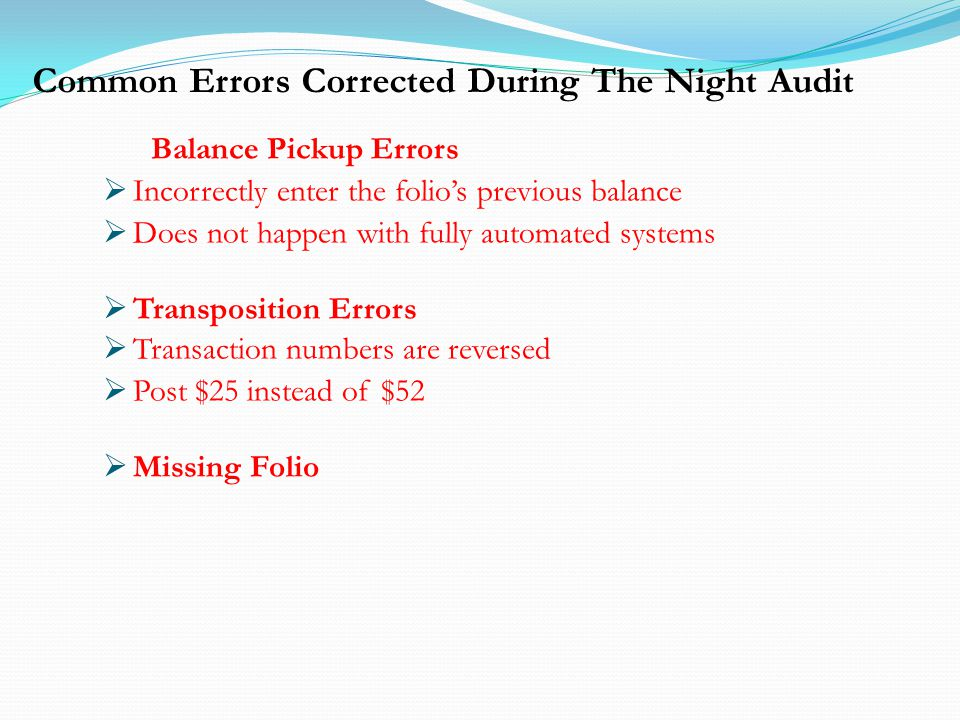 Common Errors Corrected During The Night Audit