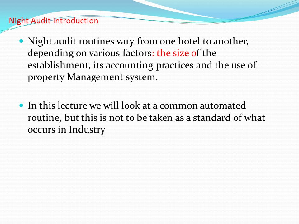Night Audit Introduction
