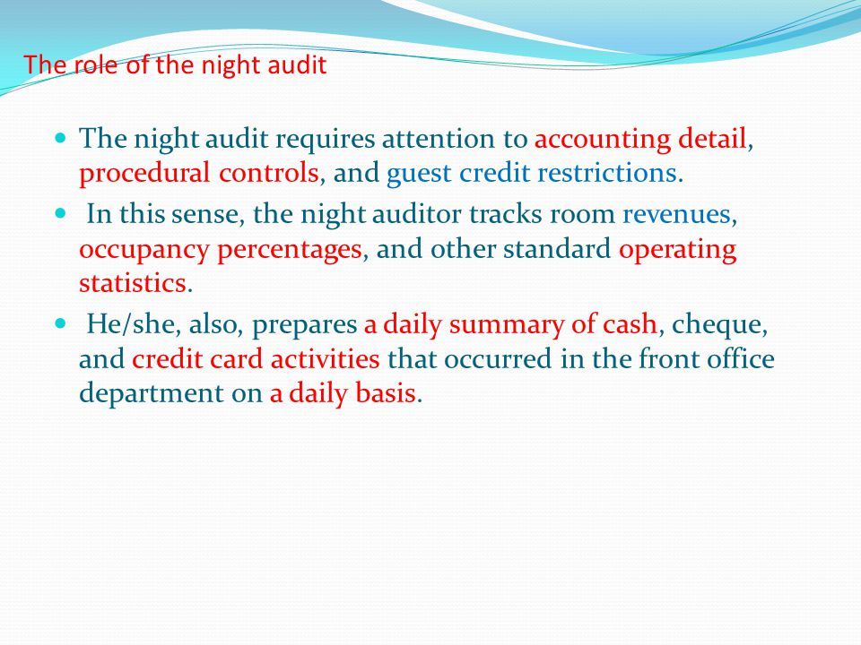 The role of the night audit
