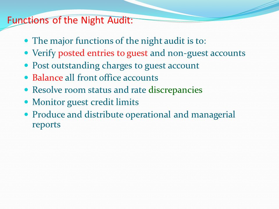 Functions of the Night Audit: