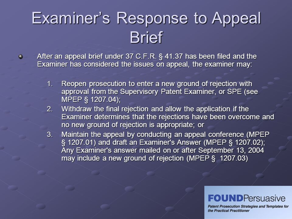 Examiner's Response to Appeal Brief