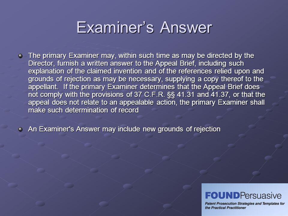 Examiner's Answer