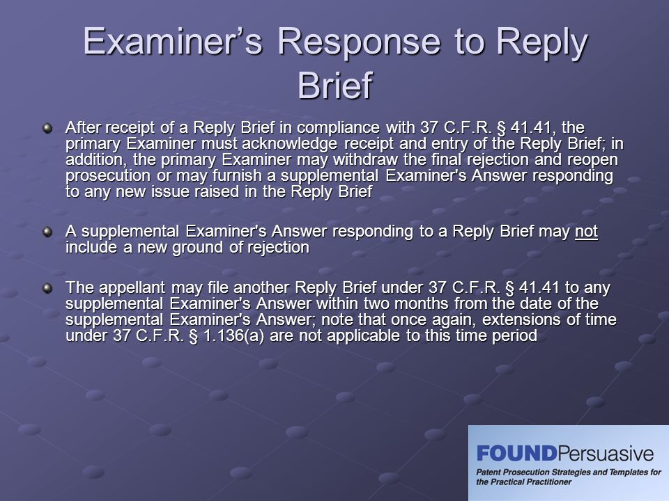 Examiner's Response to Reply Brief