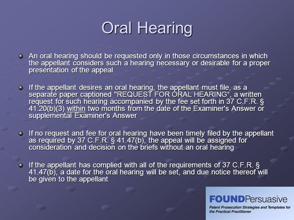 Oral Hearing