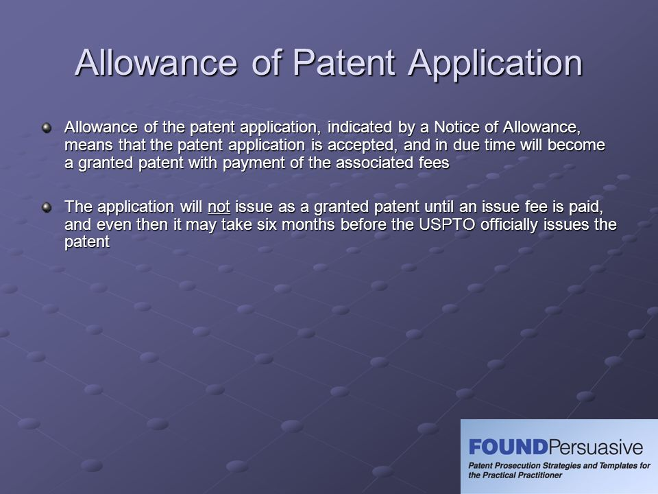 Allowance of Patent Application