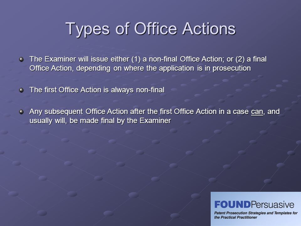 Types of Office Actions