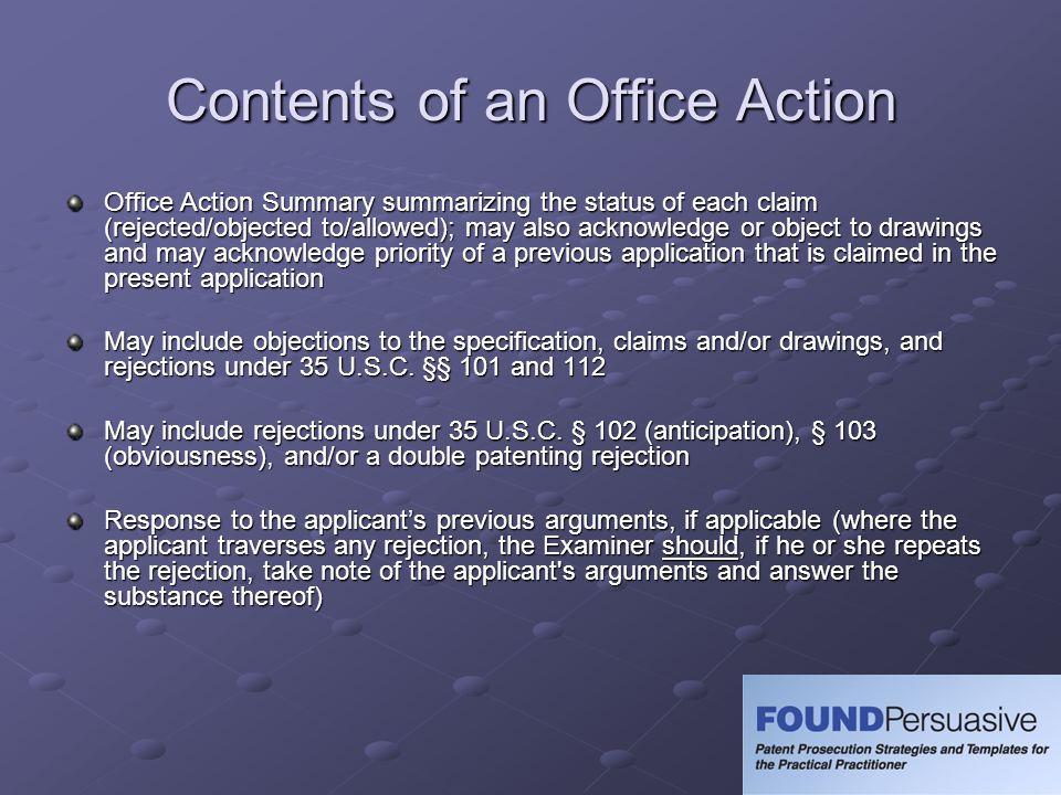 Contents of an Office Action