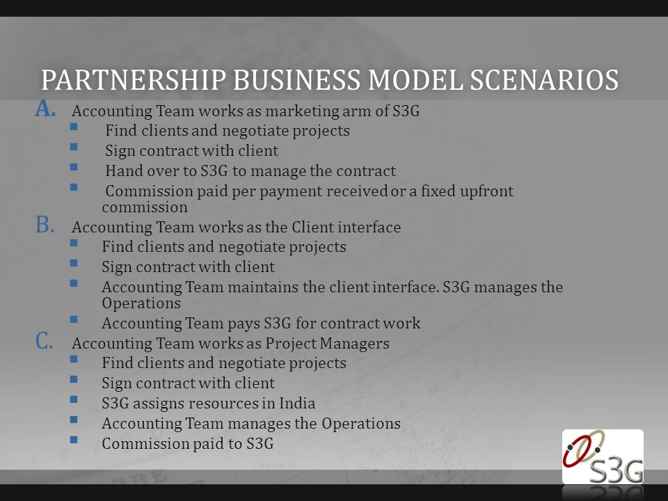 Partnership business model scenarios