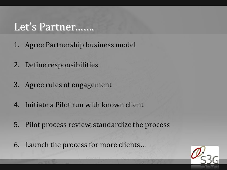 Let's Partner……. Agree Partnership business model