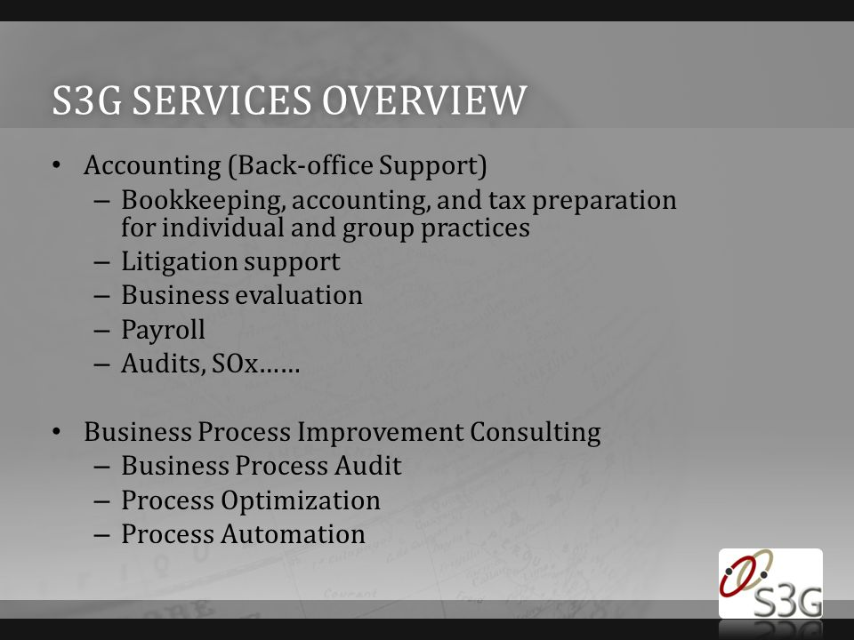S3G services overview Accounting (Back-office Support)