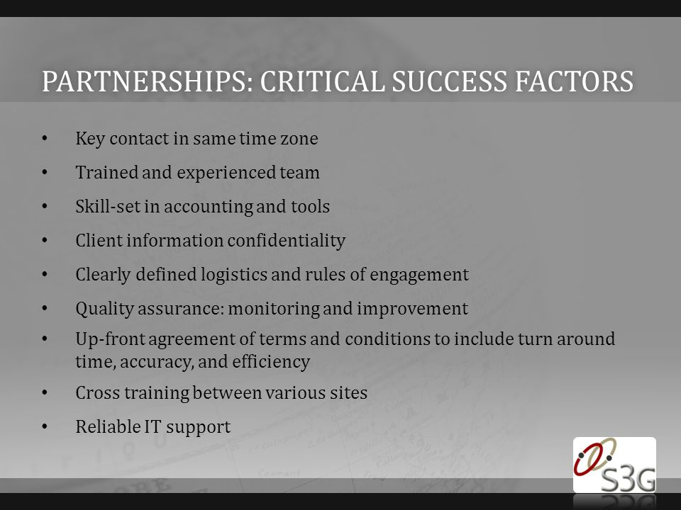 Partnerships: critical success factors