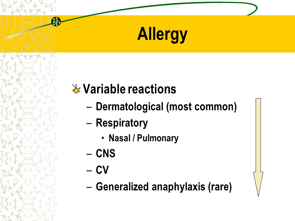 Allergy Variable reactions Dermatological (most common) Respiratory