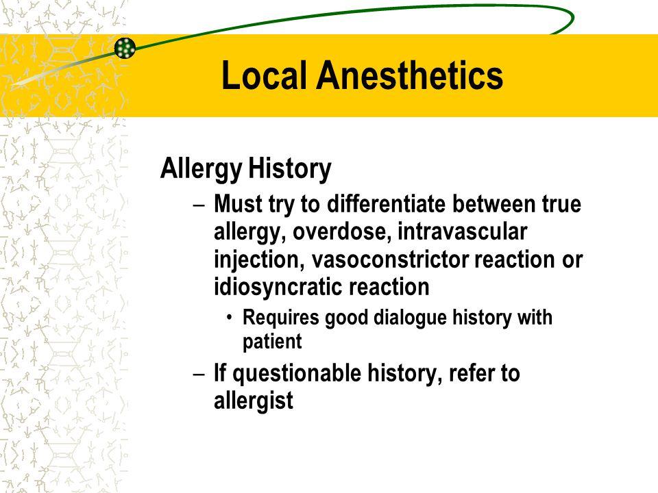 Local Anesthetics Allergy History