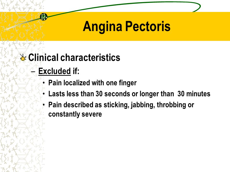 Angina Pectoris Clinical characteristics Excluded if: