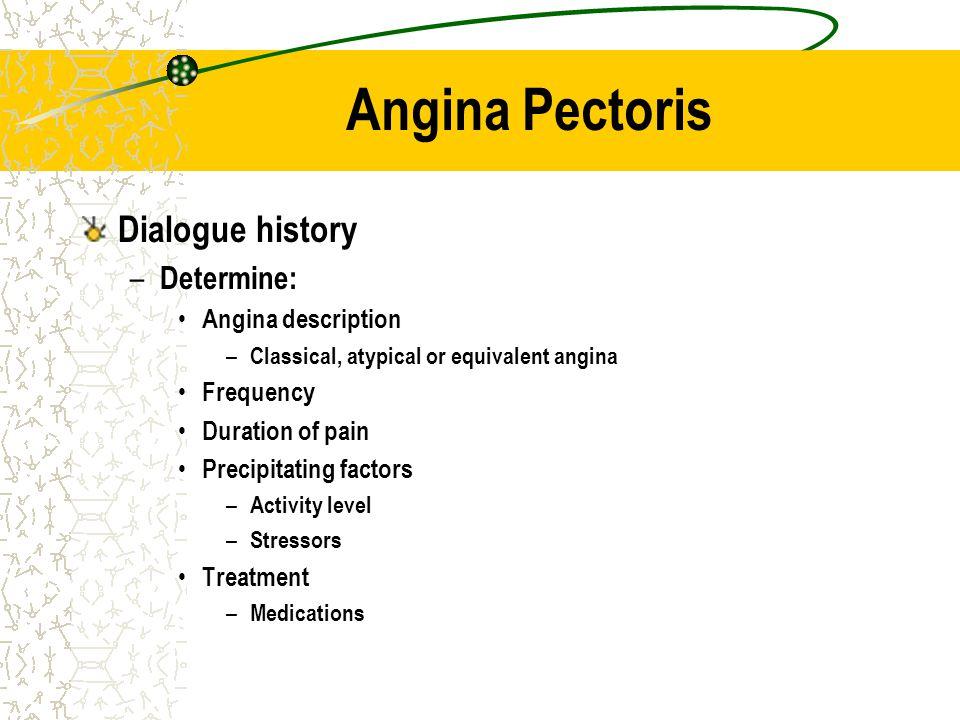Angina Pectoris Dialogue history Determine: Angina description