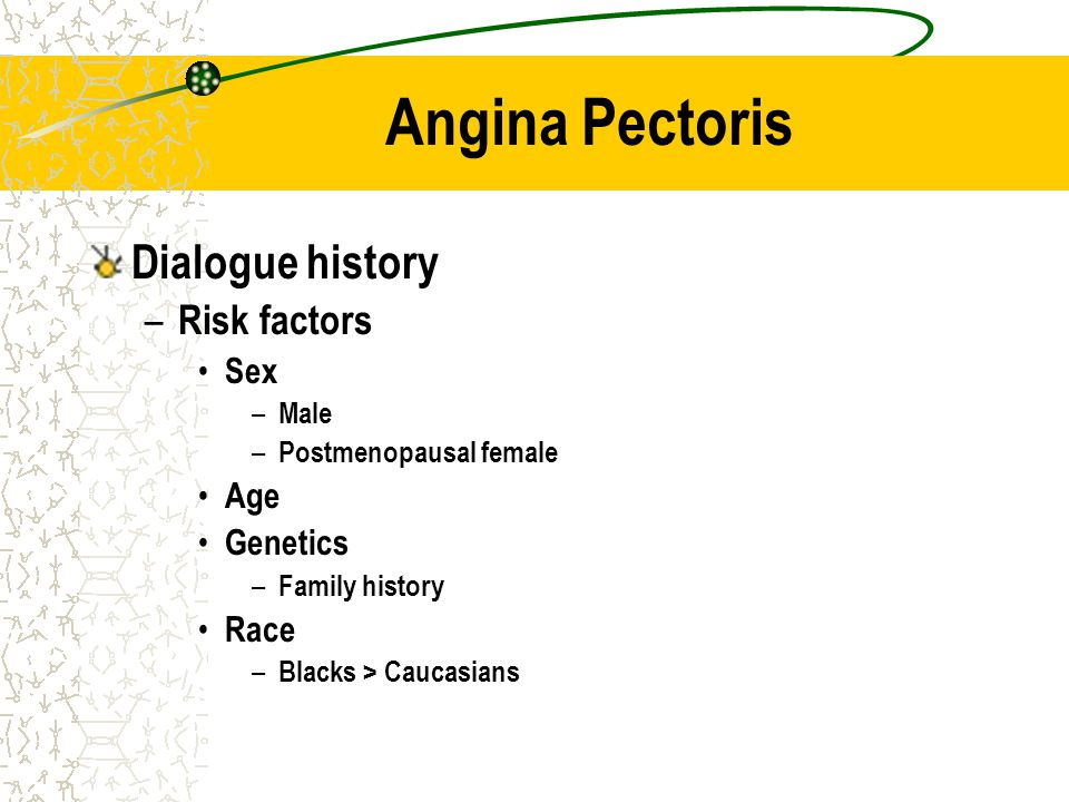 Angina Pectoris Dialogue history Risk factors Sex Age Genetics Race