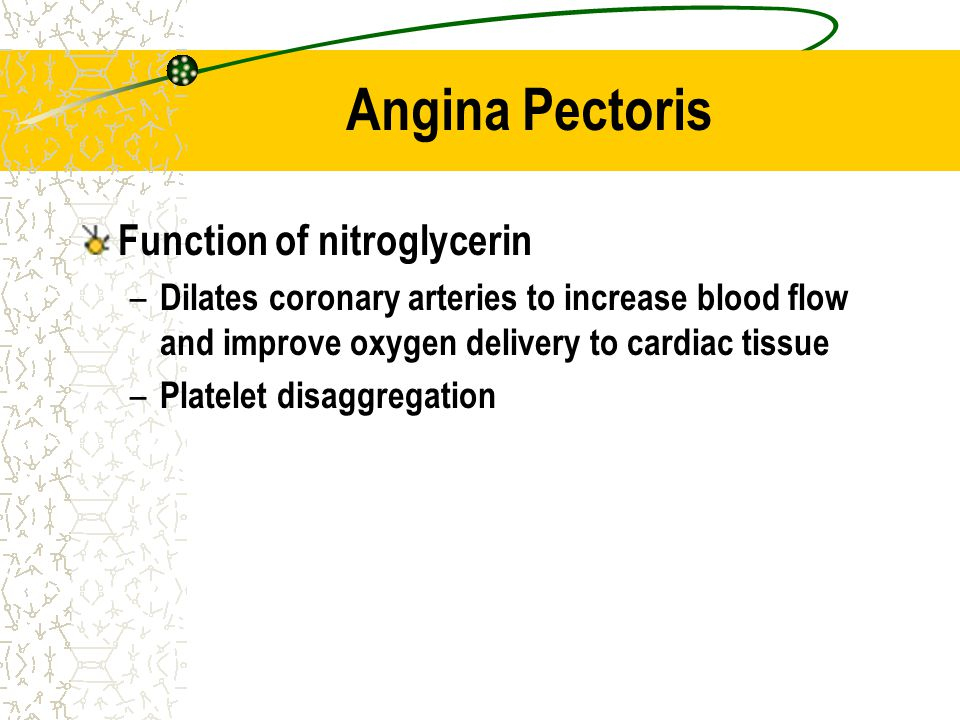Angina Pectoris Function of nitroglycerin