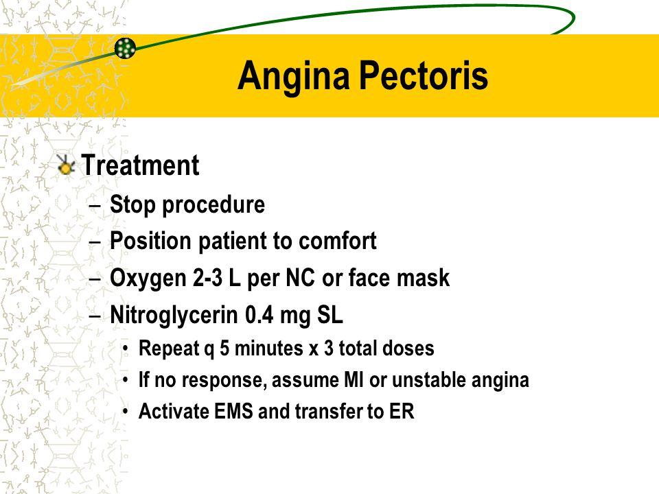 Angina Pectoris Treatment Stop procedure Position patient to comfort