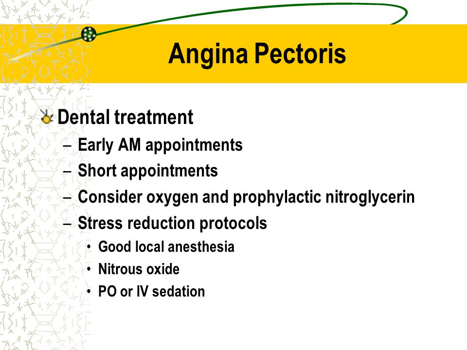Angina Pectoris Dental treatment Early AM appointments