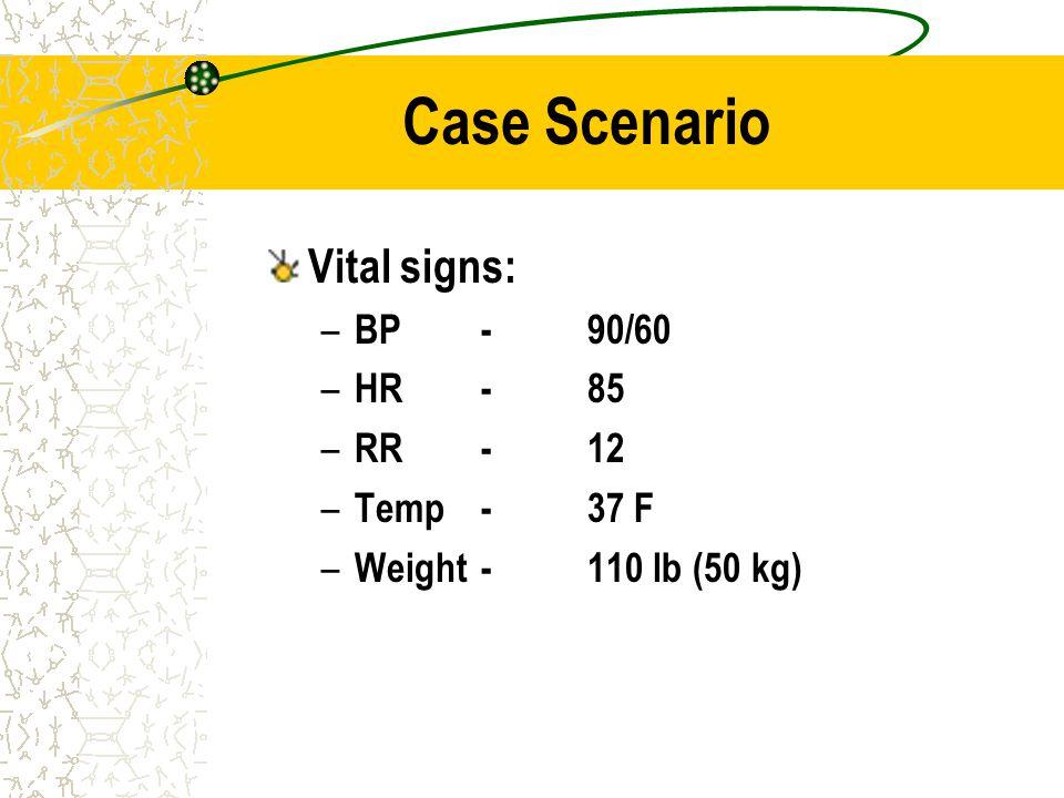 Case Scenario Vital signs: BP - 90/60 HR - 85 RR - 12 Temp - 37 F
