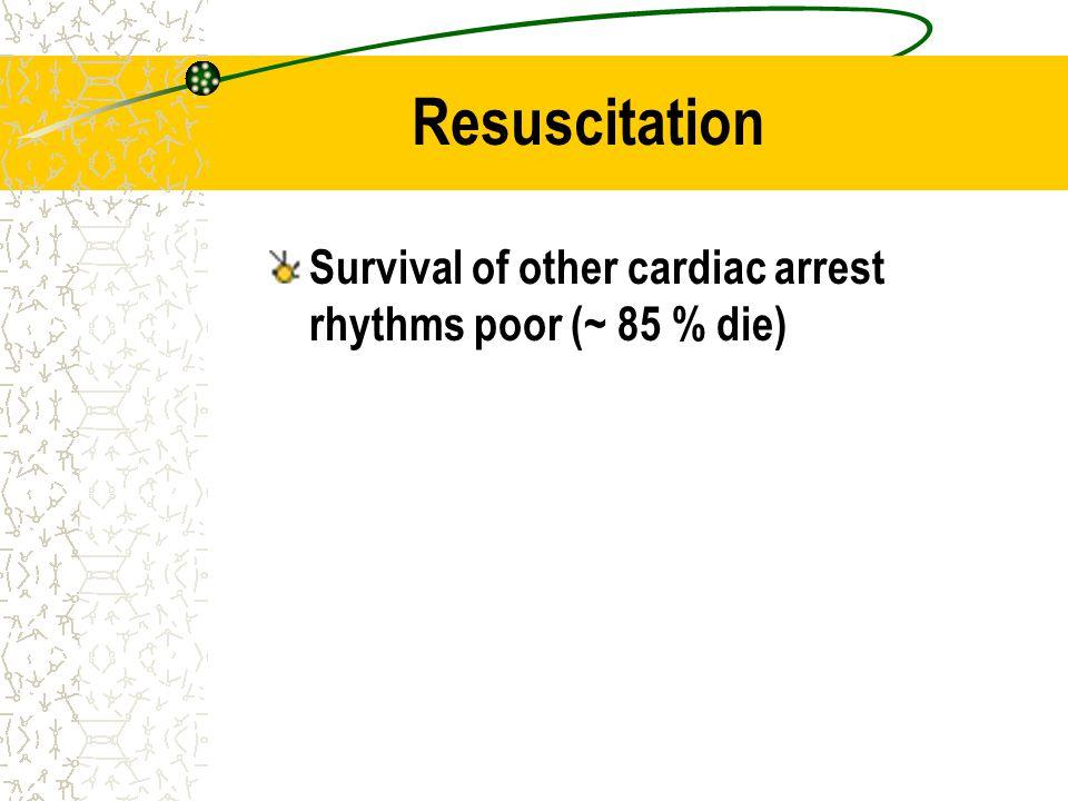 Resuscitation Survival of other cardiac arrest rhythms poor (~ 85 % die)