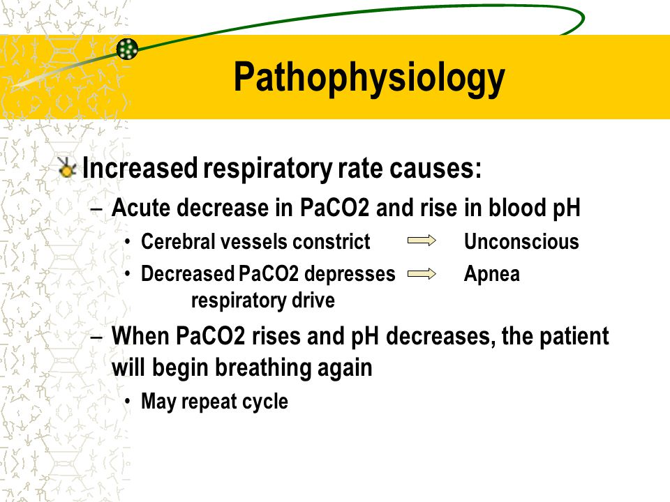 Pathophysiology Increased respiratory rate causes: